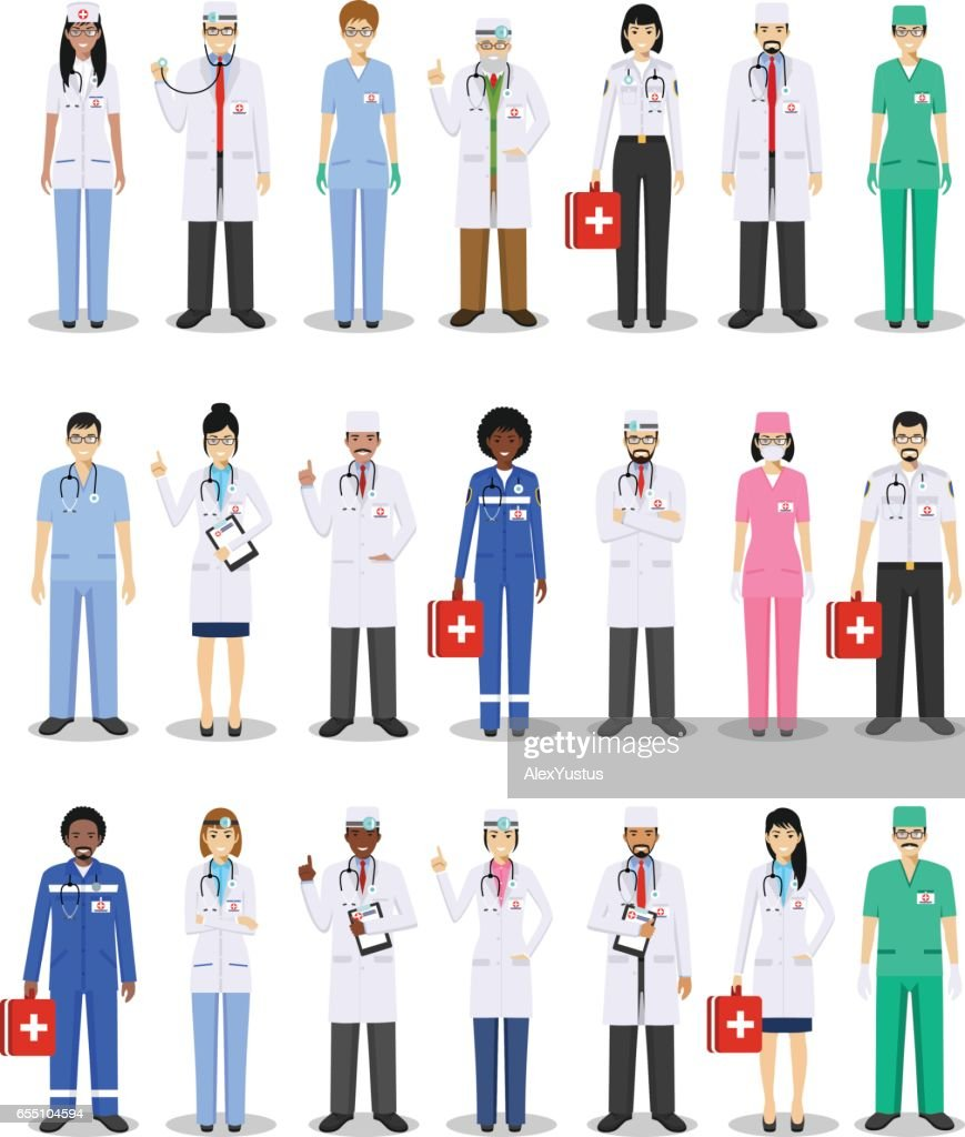 Medical concept. Detailed illustration of doctor and nurses in flat style isolated on white background. Practitioner doctors man and woman standing in different positions. Vector illustration