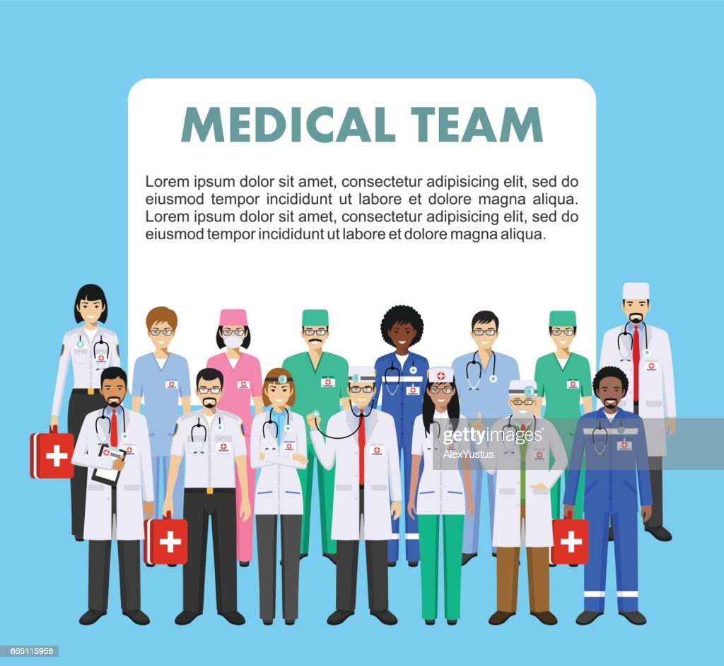Medical concept. Detailed illustration of doctor and nurses in flat style isolated on blue background. Practitioner doctors man and woman standing in different positions. Vector illustration