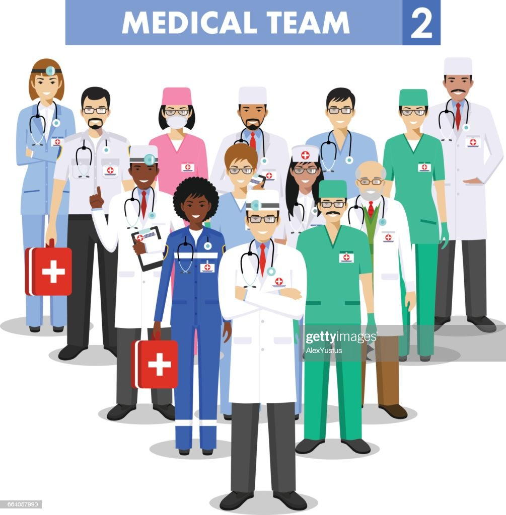 Medical concept. Detailed illustration of doctor and nurses in flat style isolated on white background. Practitioner doctors man and woman standing in different positions. Vector illustration.