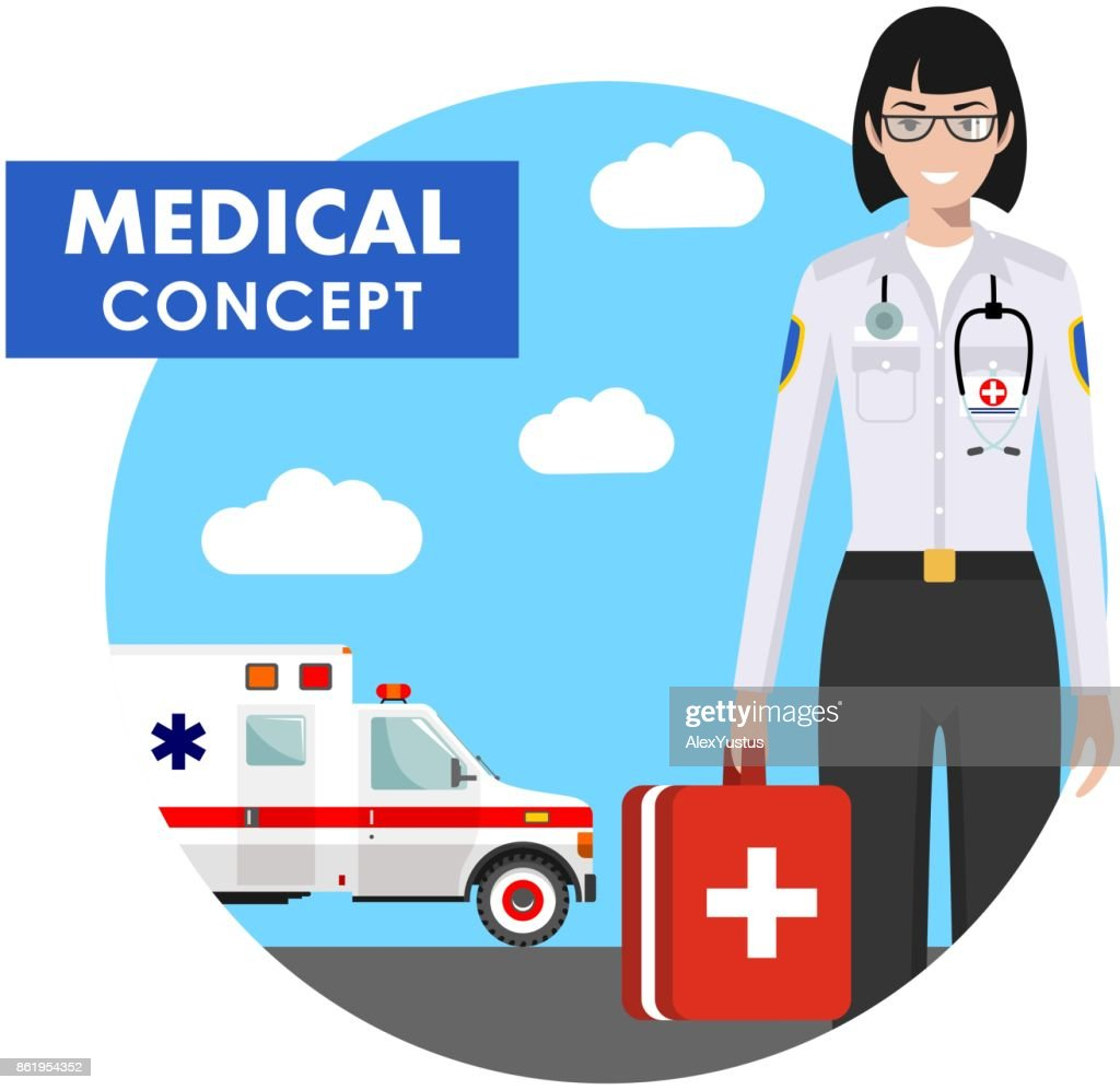 Medical concept. Detailed illustration of emergency doctor woman in uniform on background with ambulance car in flat style. Vector illustration.