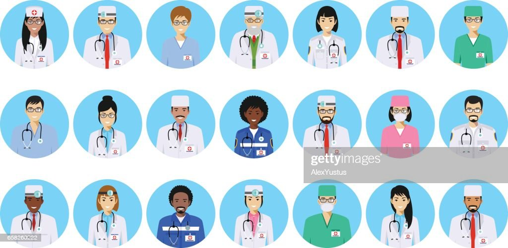 Medical concept. Different doctors, nurses characters avatars icons set in flat style isolated on blue background. Differences medical persons smiling faces. Vector illustration