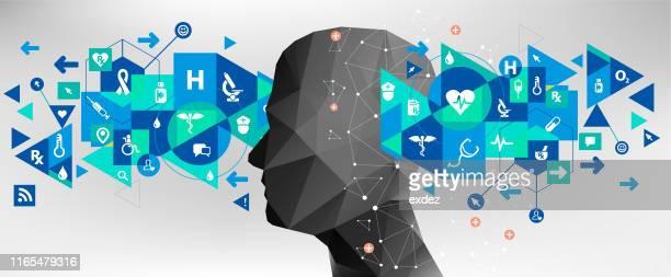 medical concept idea design - mental wellbeing stock illustrations