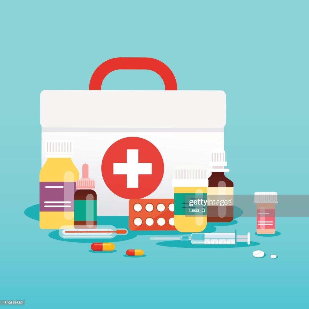 Medical concept. Pills and bottles. Flat design style modern vector illustration concept.