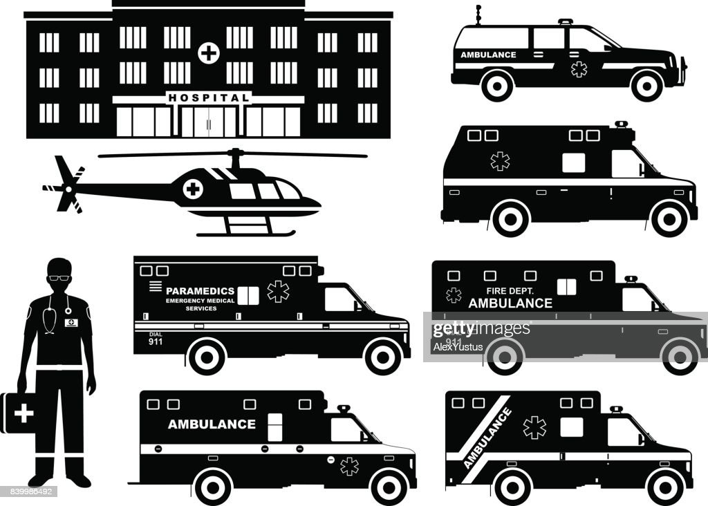 Medical concept. Set of different silhouettes ambulance cars, hospital, emergency doctor man and helicopter isolated on white background. Vector illustration.