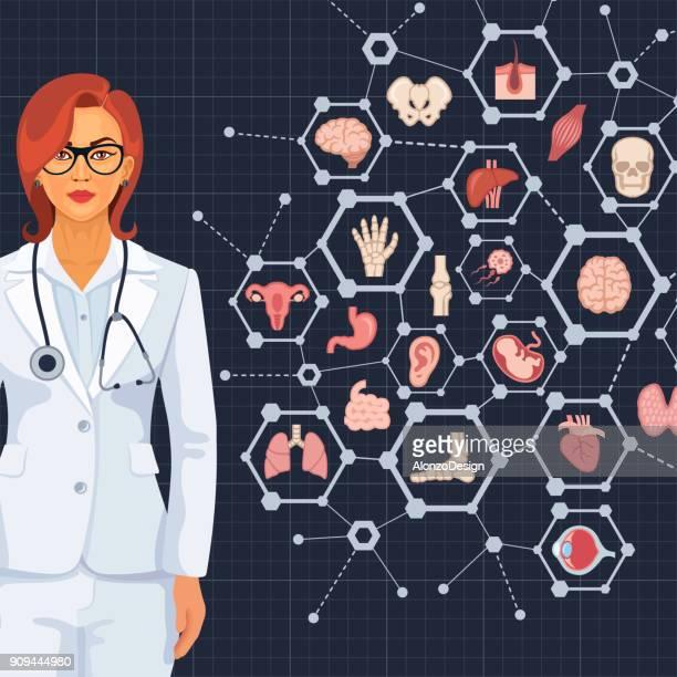 ilustrações, clipart, desenhos animados e ícones de conceito de médico com um médico e ícones - órgão interno