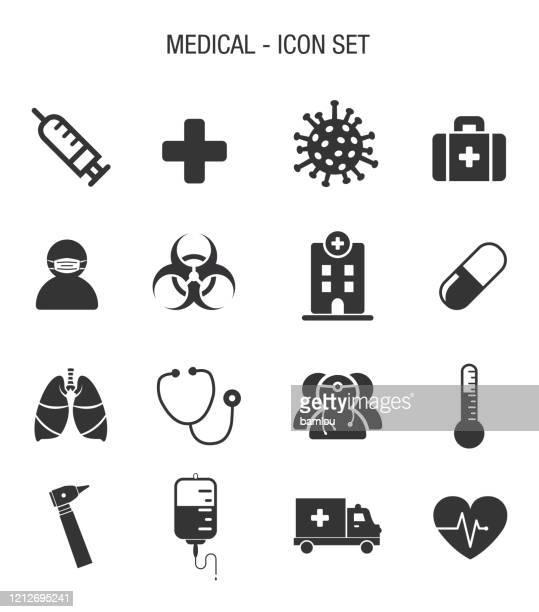 medical contagion icon set - quarantine clip art stock illustrations