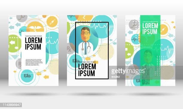 medical cover design template - flyer leaflet stock illustrations