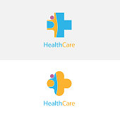 Medical cross & people icon.Medical center vector logo design template.Healthcare & Medical symbol.
