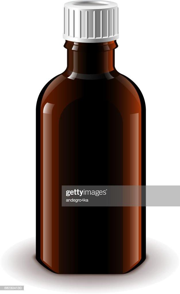 Medical dark glass bottle isolated vector