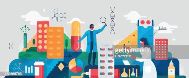 medical development concept - scientist stock illustrations