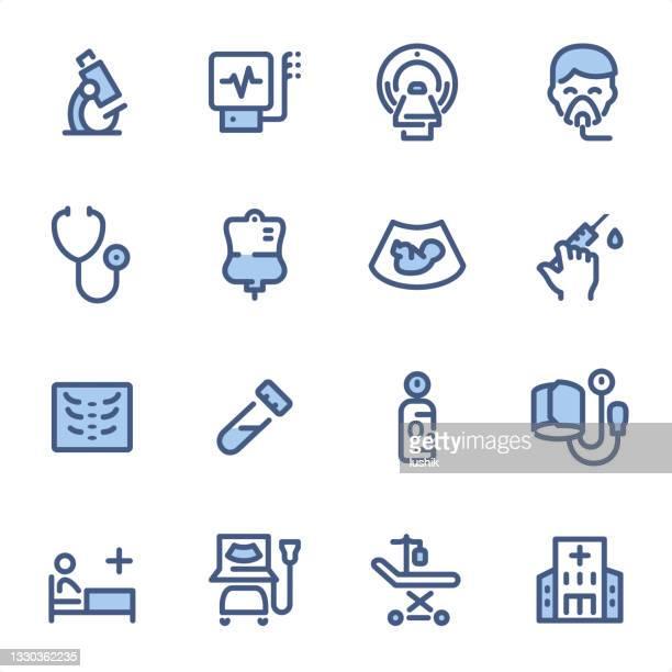 医療診断機器 - ピクセルパーフェクトブルーラインアイコン - mri装置点のイラスト素材/クリップアート素材/マンガ素材/アイコン素材