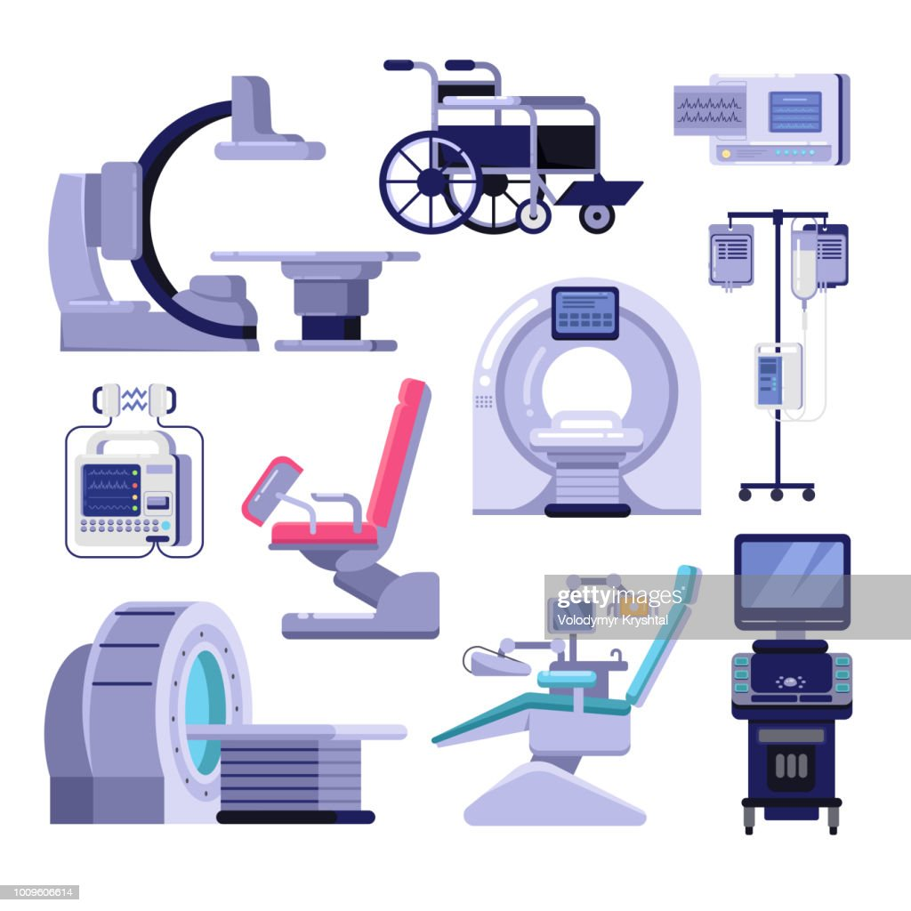 Medical diagnostic examination equipment. Vector illustration of MRI, gynecology and dentist chair, ultrasound machine.
