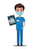Medical doctor in mask and uniform holding X-ray photograph. Vector illustration. EPS10