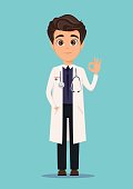 Medical doctor in white coat showing OK sign. Vector illustration. EPS10