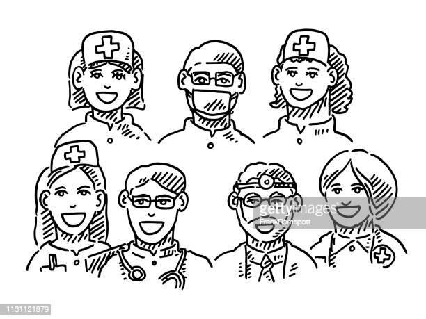 Ärztekoaut-Team Portraits Zeichnung
