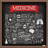 Medical doodles on chalk board