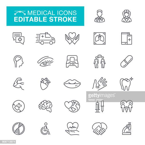 medical editable stroke icons - nutritional supplement stock illustrations, clip art, cartoons, & icons