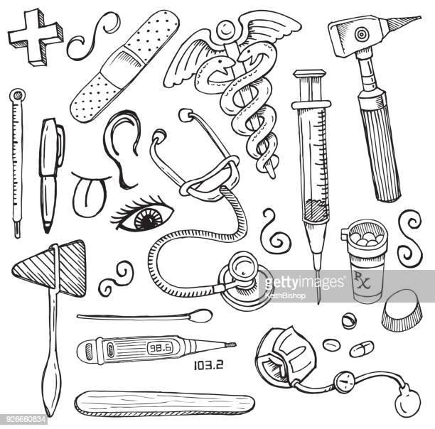 medical equipment doodles, thermometer, syringe, stethoscope, bandaid, medical symbol - thermometer stock illustrations