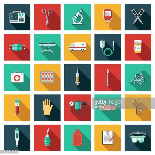medizinische geräte icon set - langer schlagschatten design stock-grafiken, -clipart, -cartoons und -symbole