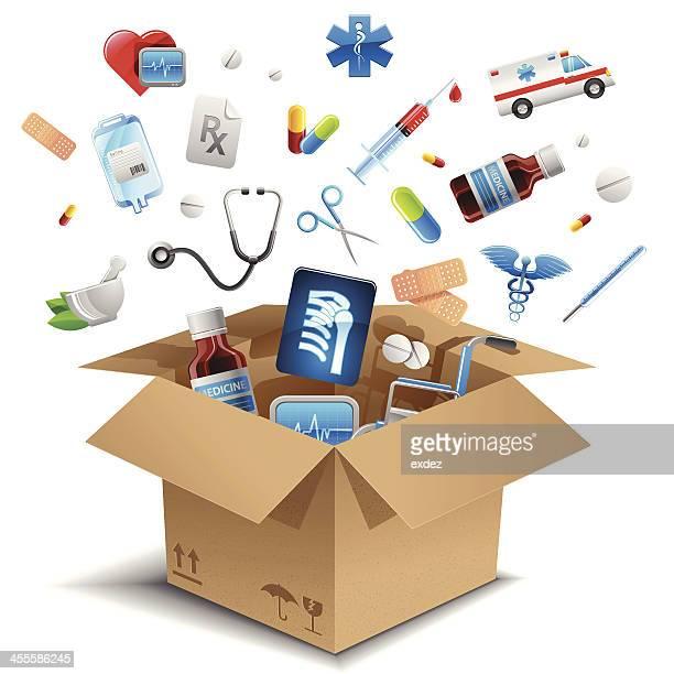 ilustrações, clipart, desenhos animados e ícones de equipamento médico na caixa - remédio