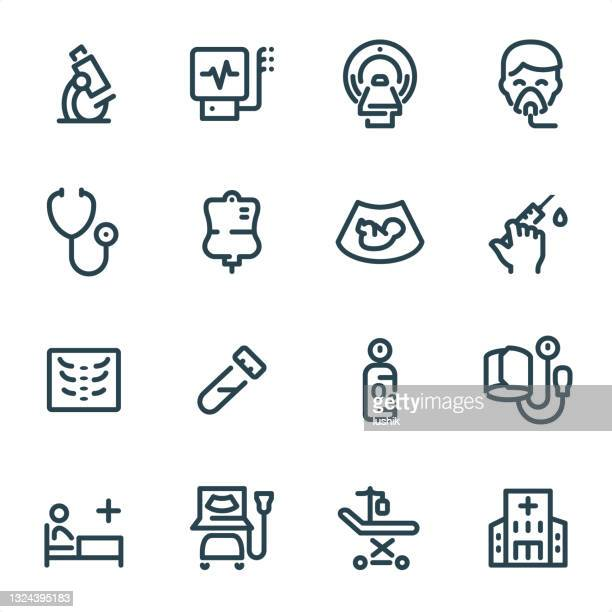 medical equipment - pixel perfect unicolor line icons - critical care stock illustrations