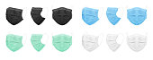 Medical face mask, blue, black, white, green. Set of isolated masks for the doctor or nurse.