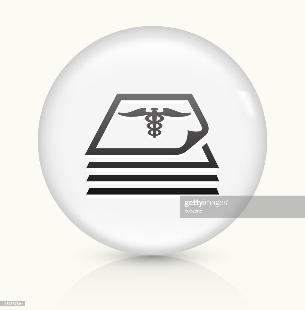 Medical Files icon on white round vector button