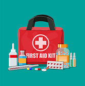 Medical first aid kit with pills and thermometer