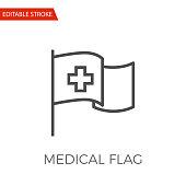 Medical Flag Thin Line Vector Icon.