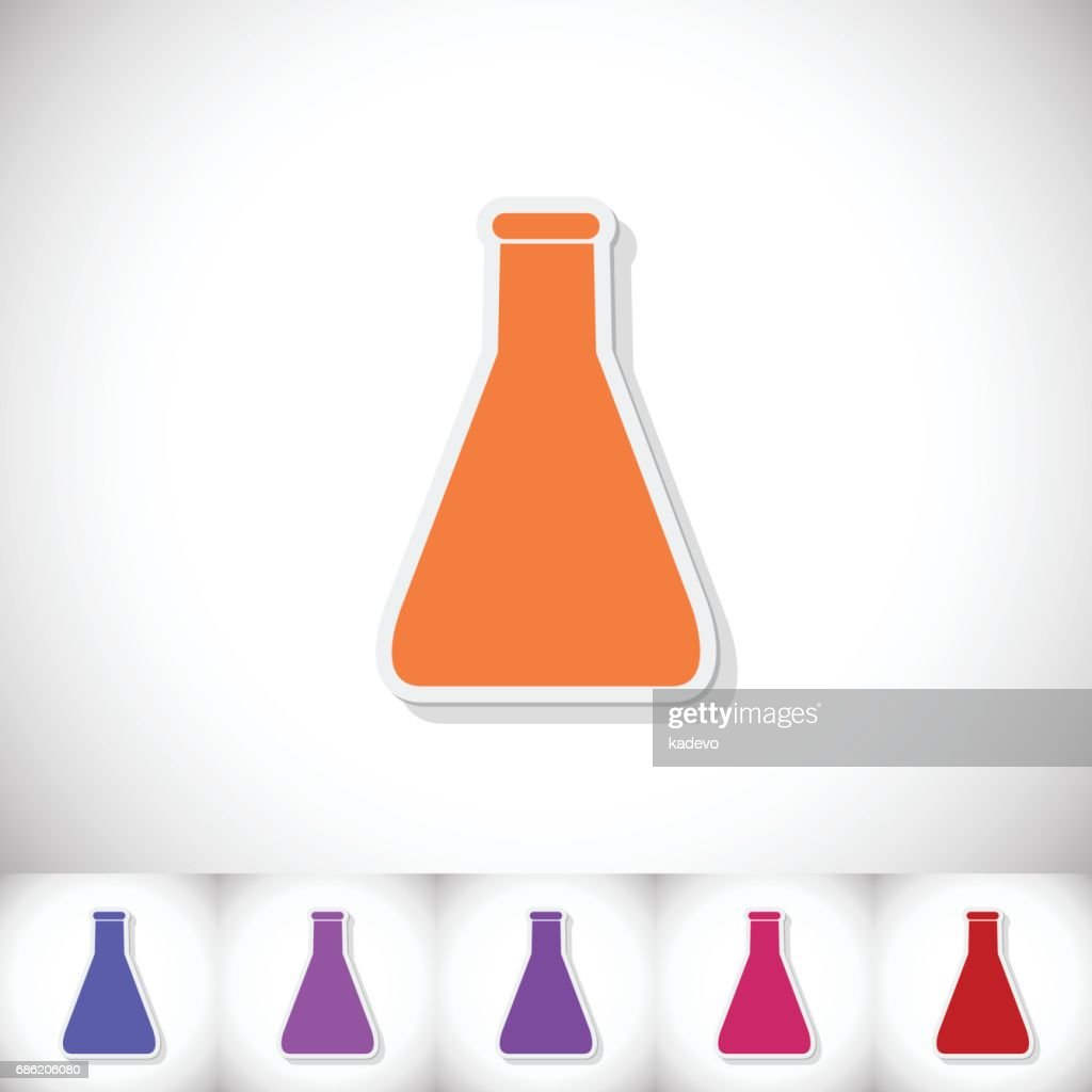Medical flask. Flat sticker with shadow on white background
