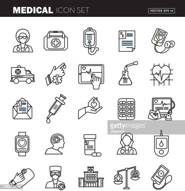 ilustrações, clipart, desenhos animados e ícones de design plano medical icon set - ilustração - símbolo ortográfico