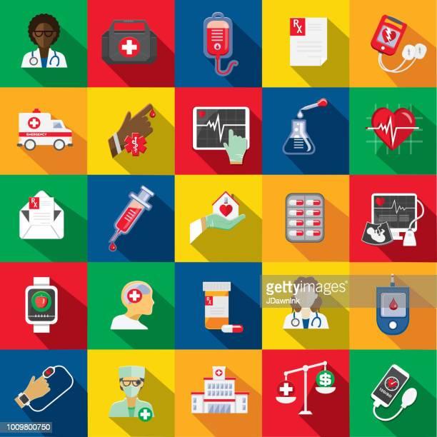 ilustraciones, imágenes clip art, dibujos animados e iconos de stock de médico diseño plano temático icon set con sombra - diabetes