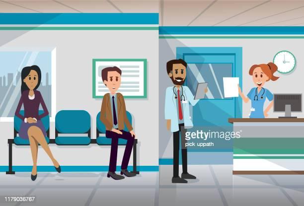 ilustraciones, imágenes clip art, dibujos animados e iconos de stock de oficina médica en recepción - clínica médica