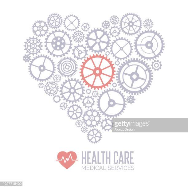 medical gears heart - accuracy stock illustrations