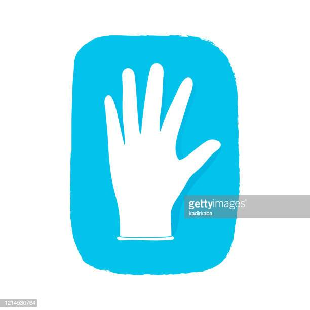 medical glove hand drawn, doodle and vector illustration icons set - glove stock illustrations