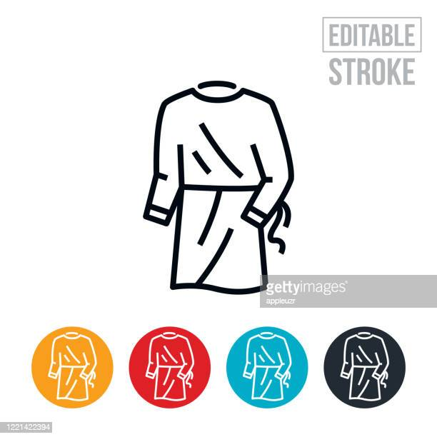 medical gown thin line icon - editable stroke - scrubs stock illustrations