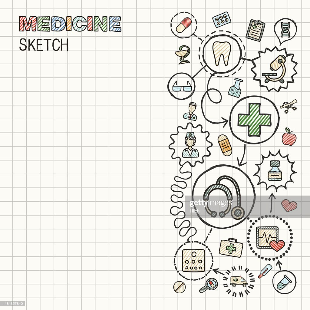 Medical hand draw integrated vector sketch icons set on paper.