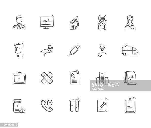 医療手引き線アイコンセット - レントゲン撮影装置点のイラスト素材/クリップアート素材/マンガ素材/アイコン素材