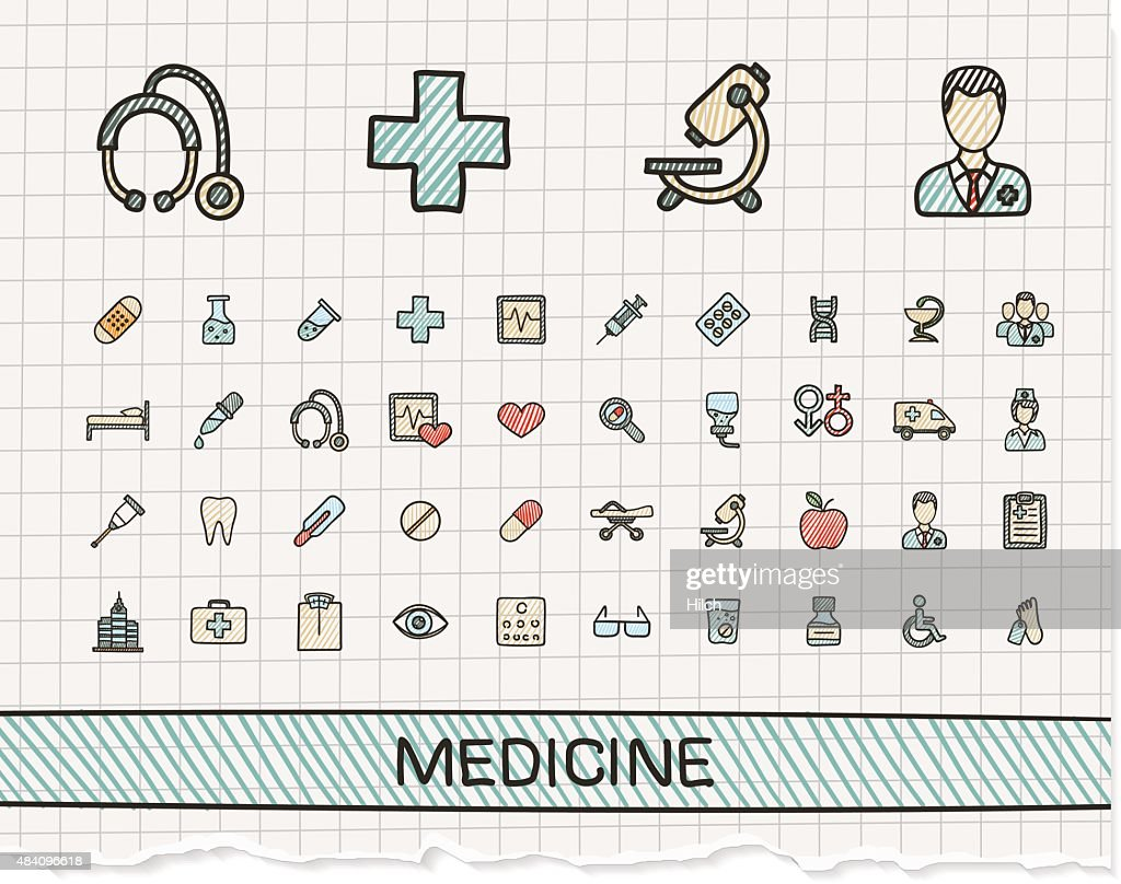 Medical hand drawing line icons. Vector doodle pictogram set