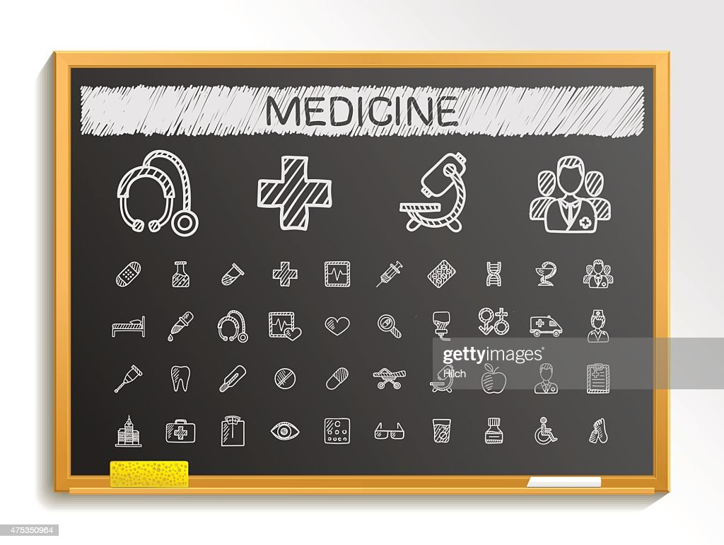 Medical hand drawing sketch icons set. Vector doodle blackboard illustration