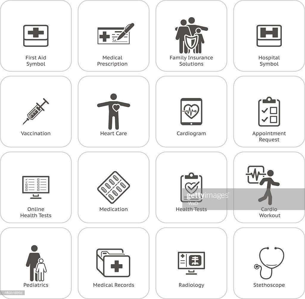Medical & Health Care Icons Set. Flat Design.