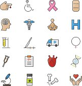 Medical Health Fitness and Science Set Of Healthy Icons