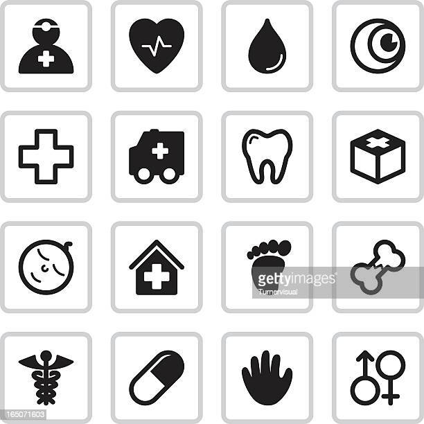 medical health icons | black - dental equipment stock illustrations