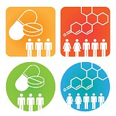 Medical Healthcare Icons with People Charting Disease or Scientific Discovery