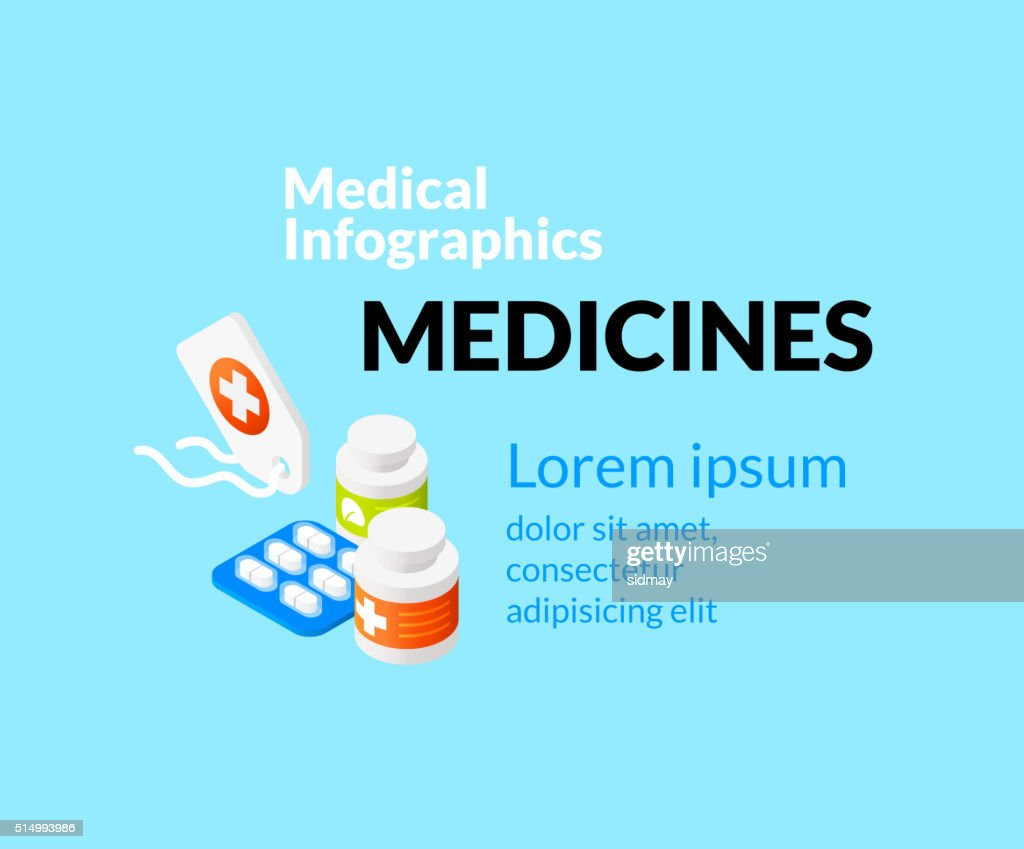 Medical healthcare infographic set with isometric flat icons, medicines concept