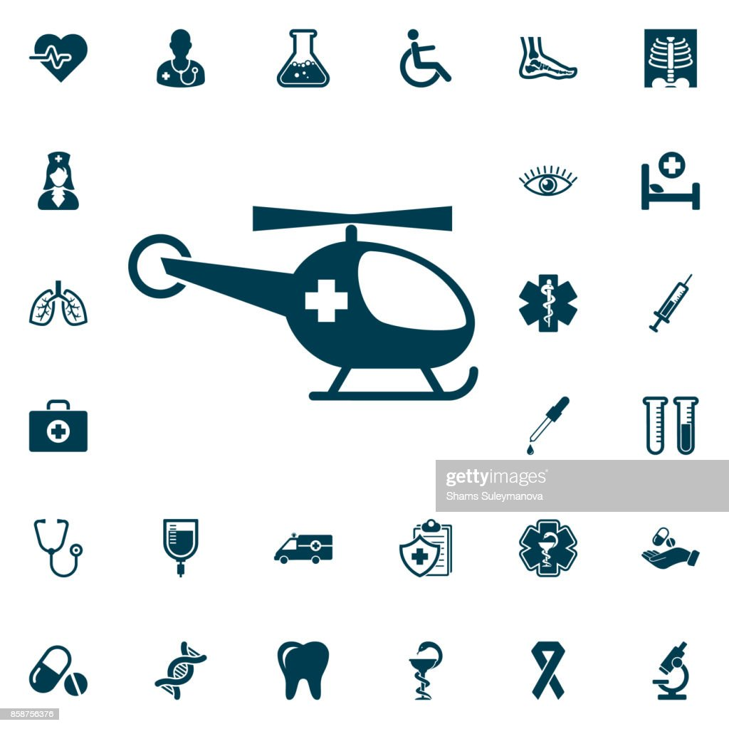 Medical helicopter, medical set on white background. Health Care Vector illustration