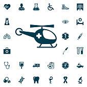 Medical helicopter, medical set on white background. Health Care Vector illustration