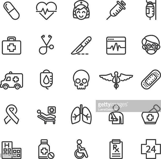 medical hospital care clinic emergency line icons | eps10 - cancer illness stock illustrations, clip art, cartoons, & icons