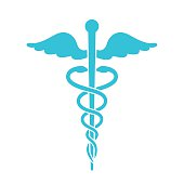 Medical icon. Minimal flat blue caduceus symbol on white backgro
