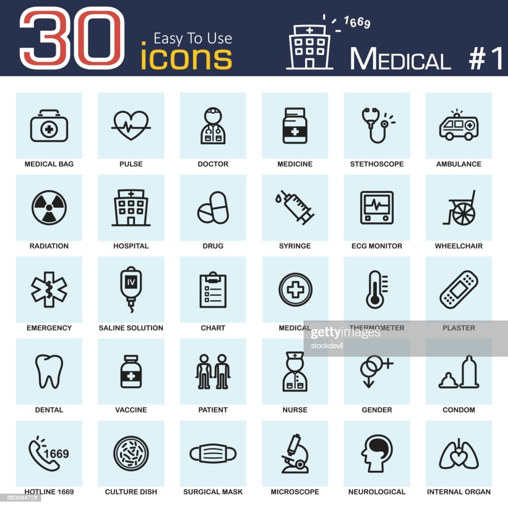 Medical icon set 1 . outline style .